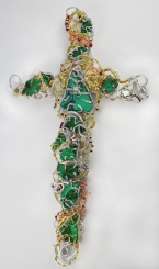 Malachite Doodle Cross with Intarsia centerpiece